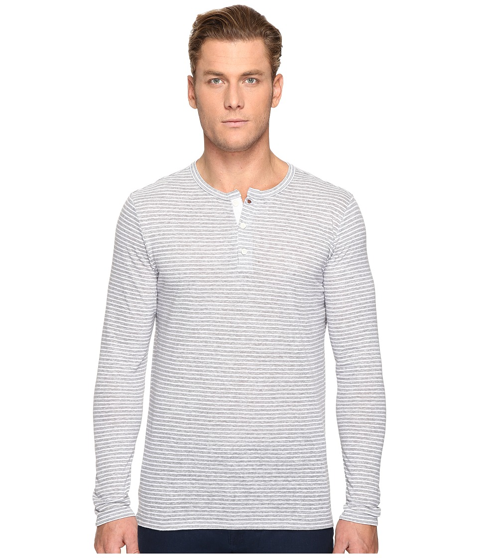 onia - Miles Henley (Mid Heather Grey/White) Men's Long Sleeve Pullover