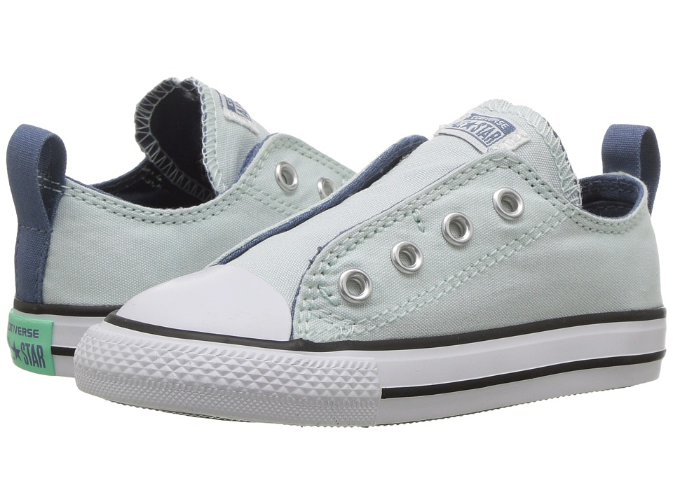 Converse Kids - Chuck Taylor All Star Simple Slip Ox (Infant/Toddler) (Fiberglass/Blue Coast/White) Girl's Shoes