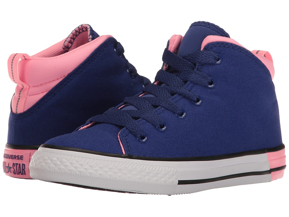 Converse Kids - Chuck Taylor All Star Official Mid (Little Kid/Big Kid) (True Indigo/Pink Glow/White) Girl's Shoes
