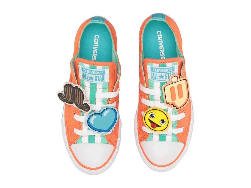Converse Kids Chuck Taylor All Star Loopholes Emoji Ox (Little Kid/Big Kid) (Wild Mango/Green Glow/White) Girl