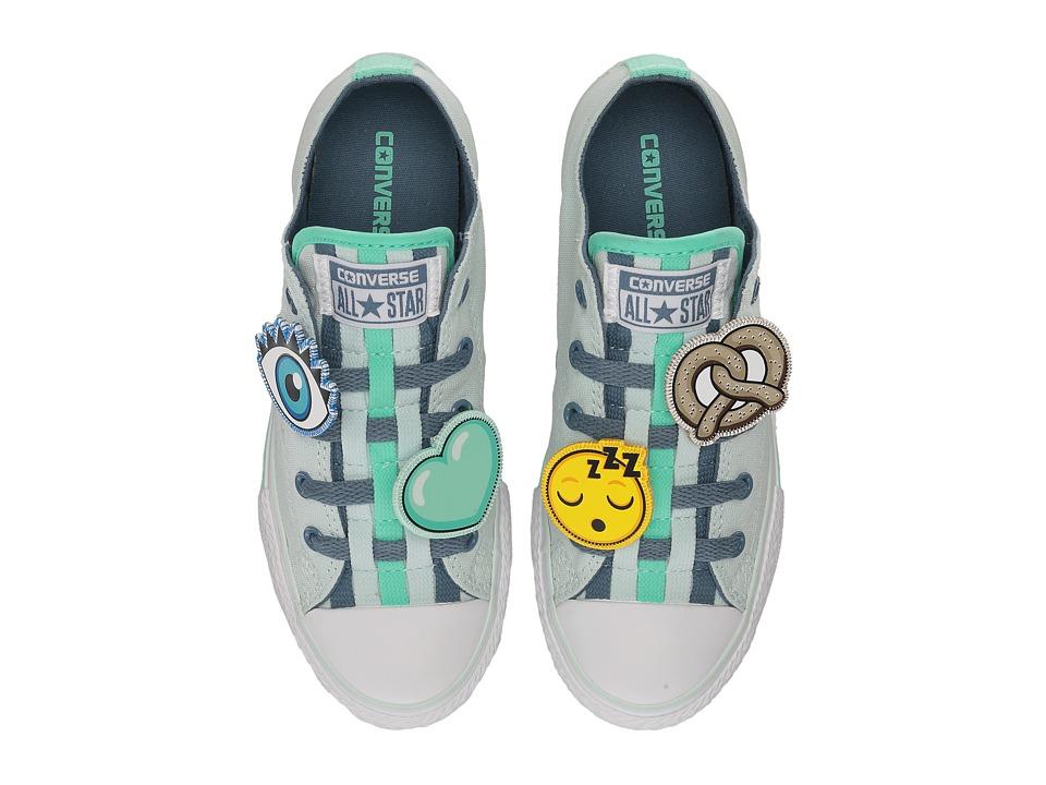 Converse Kids Chuck Taylor All Star Loopholes Emoji Ox (Little Kid/Big Kid) (Fiberglass/Blue Coast/White) Girl