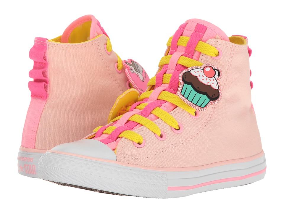 Converse Kids Chuck Taylor All Star Loopholes Emoji Hi (Little Kid/Big Kid) (Vaper Pink/Fresh Yellow/White) Girl