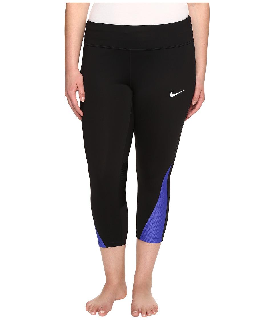 Nike - Power Running Crop (Sizes 1X-3X) (Black/Paramount Blue) Women's Workout