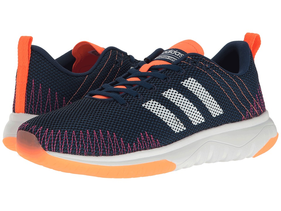 adidas - Cloudfoam Super Flex (Mystery Blue/White/Glow Orange) Women's Running Shoes