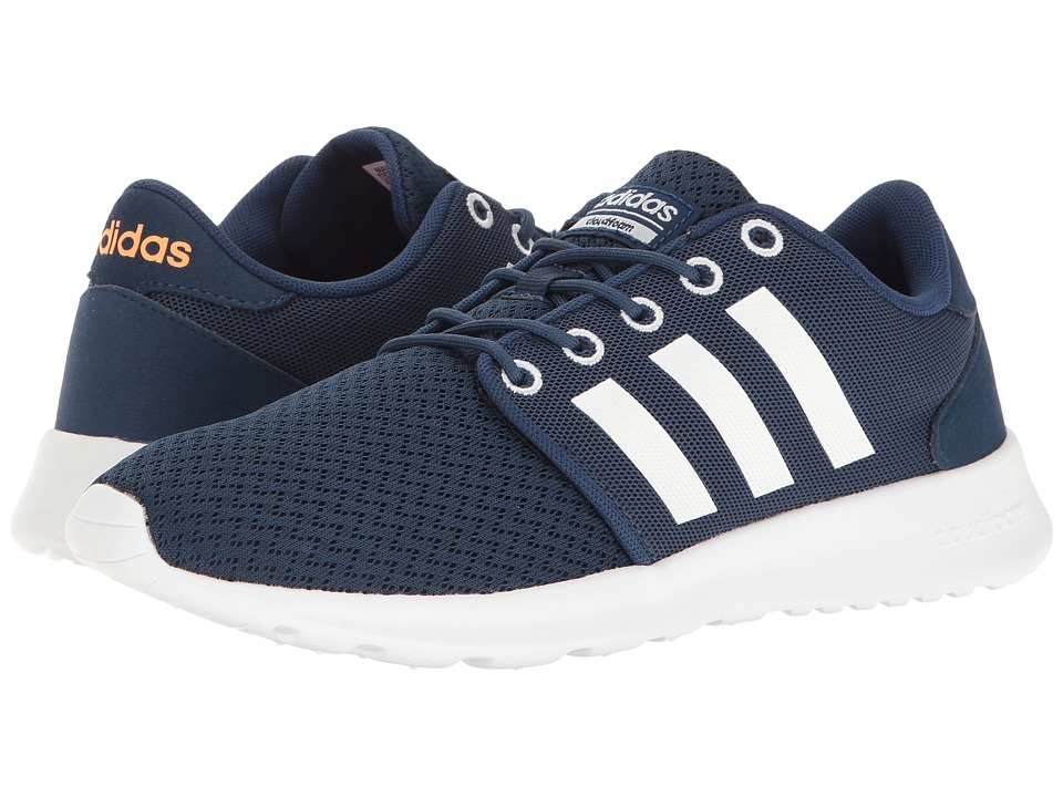 adidas - Cloudfoam QT Racer (Mystery Blue/White/Glow Orange) Women's Running Shoes