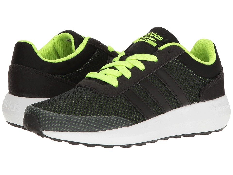 adidas Kids - Cloudfoam Race (Little Kid/Big Kid) (Black/Solar Yellow) Kids Shoes