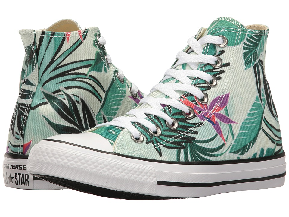 Converse - Chuck Taylor All Star Tropical Print Hi (Fiberglass/Menta/White) Women's Classic Shoes