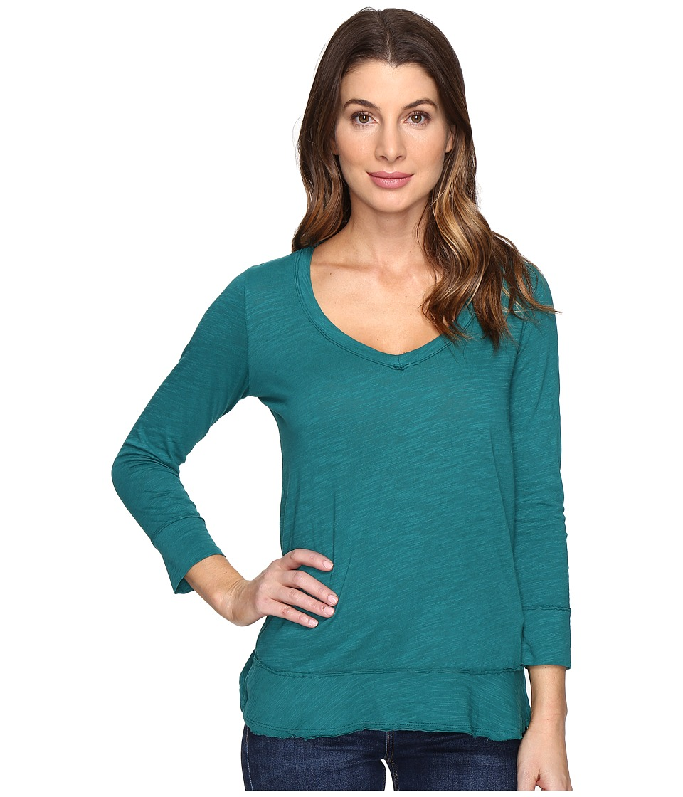 Mod-o-doc - Slub Jersey Forward Seam 3/4 Sleeve Tee (Vintage Teal) Women's T Shirt