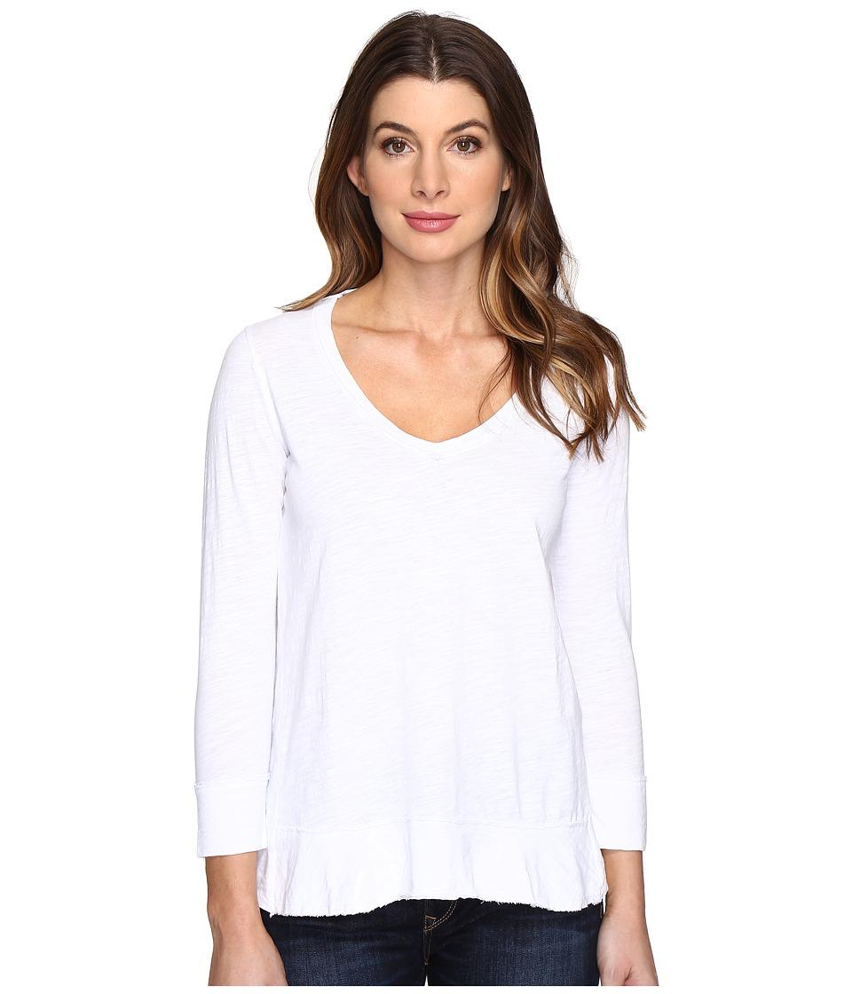 Mod-o-doc - Slub Jersey Forward Seam 3/4 Sleeve Tee (White) Women's T Shirt