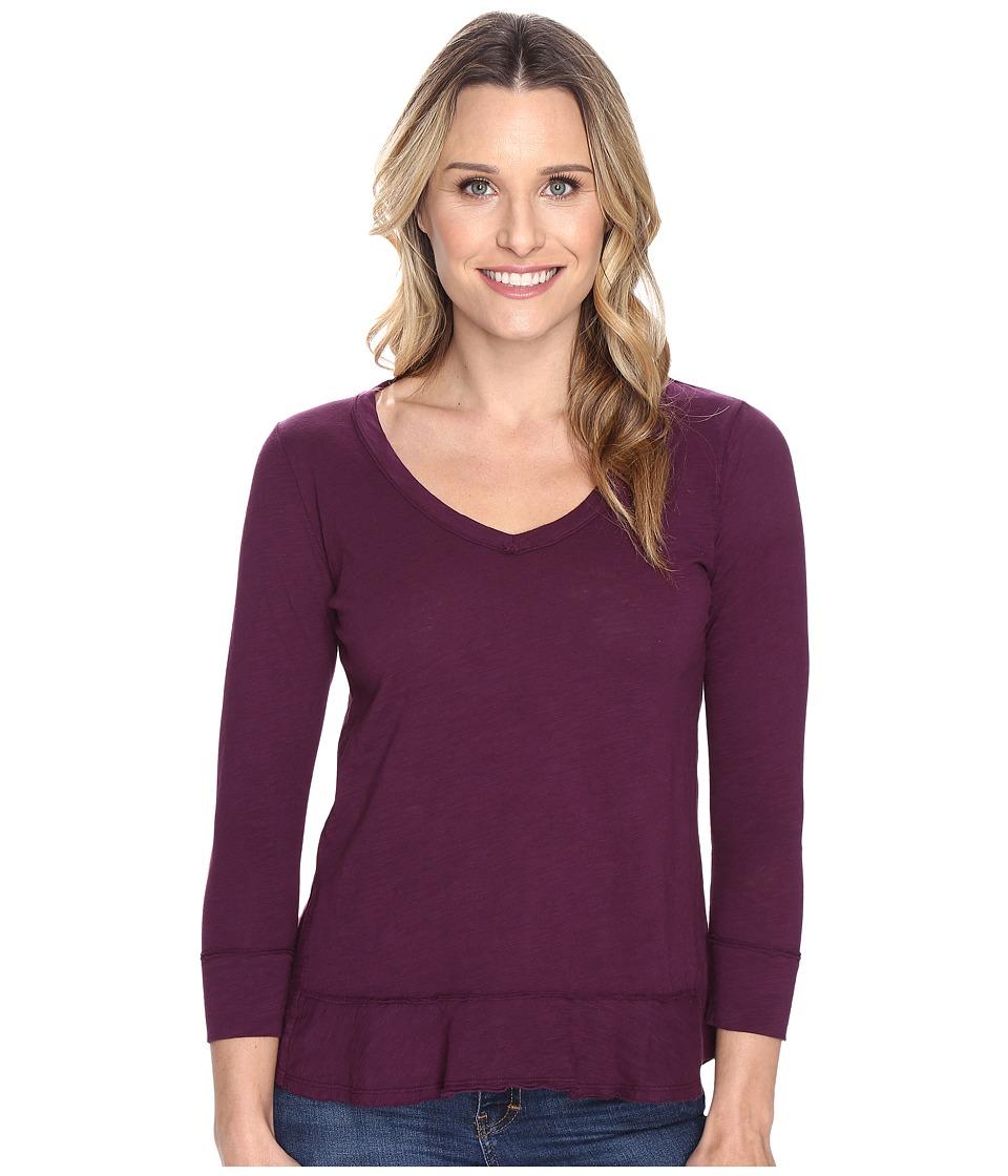 Mod-o-doc - Slub Jersey Forward Seam 3/4 Sleeve Tee (Spiced Plum) Women's T Shirt