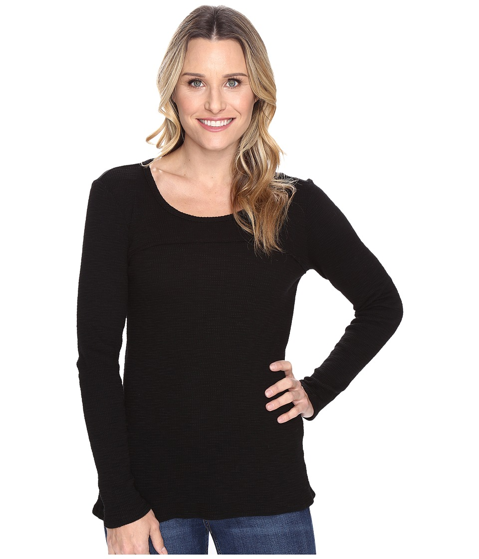 Mod-o-doc - Vintage Slub Thermal Back Vent Long Sleeve Tee (Black) Women's T Shirt