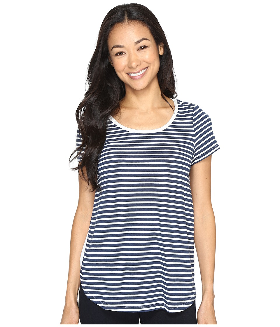 Mod-o-doc - Heather Yarn Dye Stripe Short Sleeve Tee w/ Back Contrast (Navy) Women's T Shirt