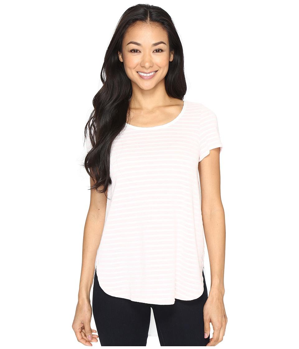 Mod-o-doc - Heather Yarn Dye Stripe Short Sleeve Tee w/ Back Contrast (Pink) Women's T Shirt