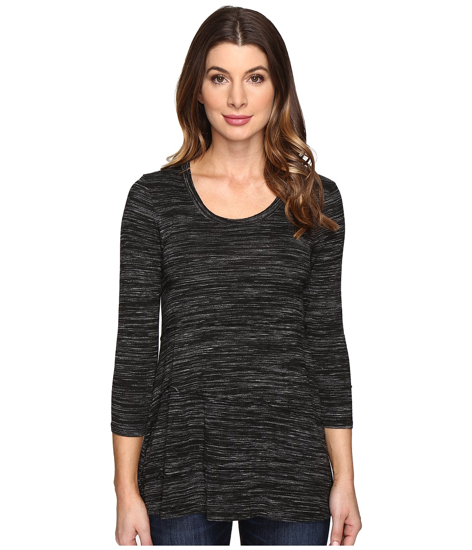 Mod-o-doc - Space Dye Rayon Spandex Jersey Raw Edge Seamed Tee (Black Heather) Women's T Shirt