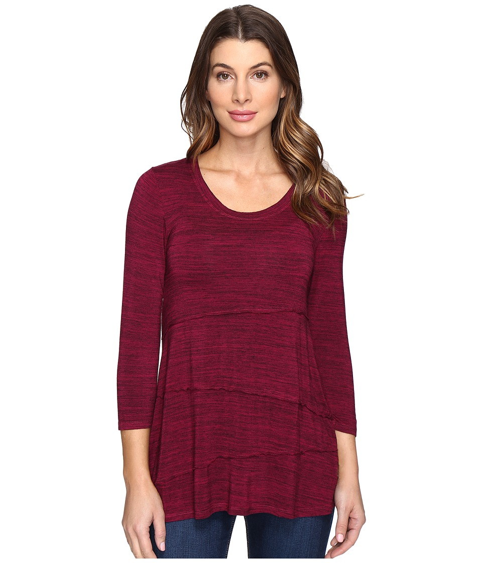 Mod-o-doc - Space Dye Rayon Spandex Jersey Raw Edge Seamed Tee (Cranberry Heath) Women's T Shirt