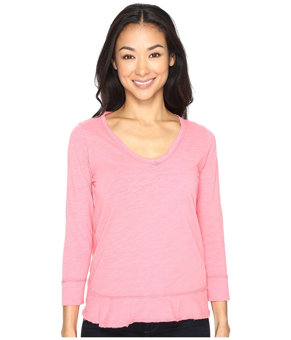 Mod-o-doc - Slub Jersey Forward Seam 3/4 Sleeve Tee (Guava) Women's T Shirt