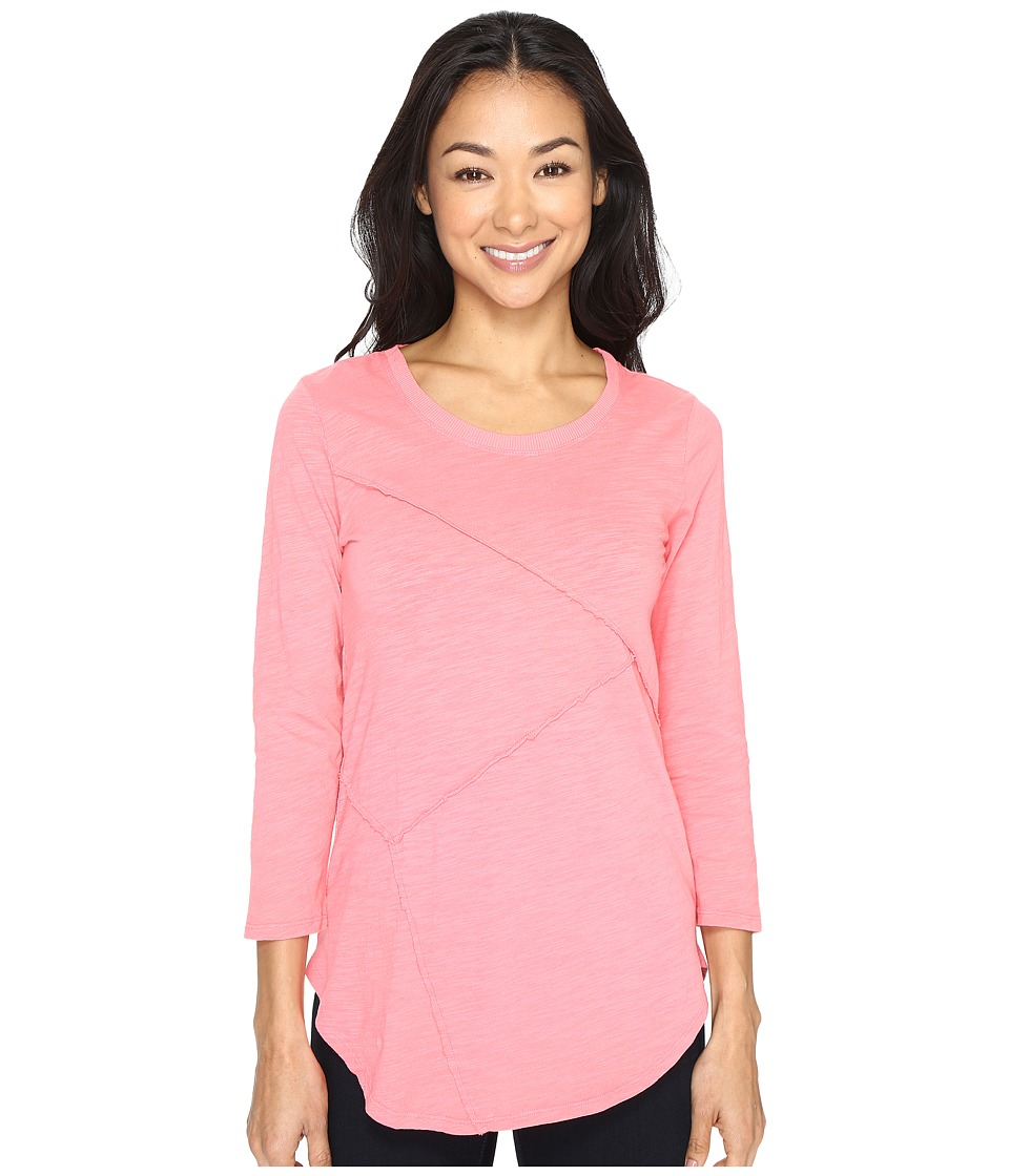 Mod-o-doc - Slub Jersey Asymmetrical Raw Edge Seamed Tee (Guava) Women's T Shirt