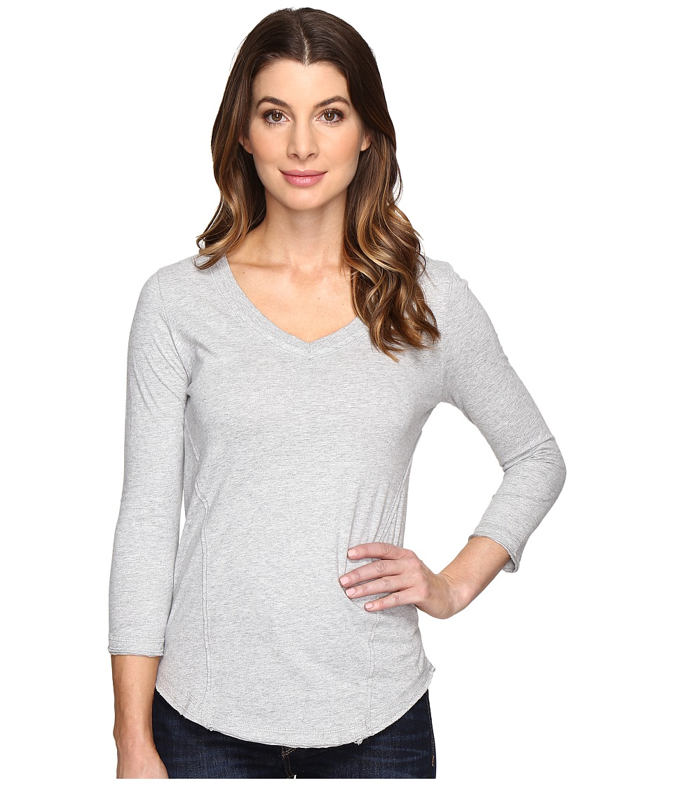 Mod-o-doc - Classic Jersey Seamed V-Neck Tee (Heather Grey) Women's T Shirt