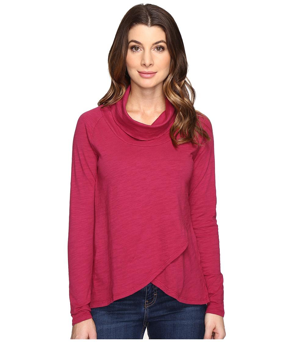 Mod-o-doc - Slub Jersey Slouchy Funnel Crossover Hem Tee (Cranberry) Women's T Shirt