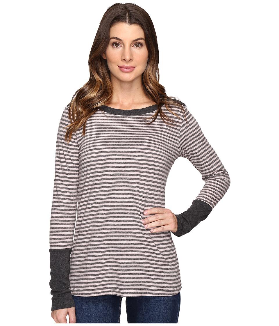 Mod-o-doc - Brushed Slub Stripe Long Sleeve Tee w/ Heather Contrast (Dark Grey) Women's T Shirt