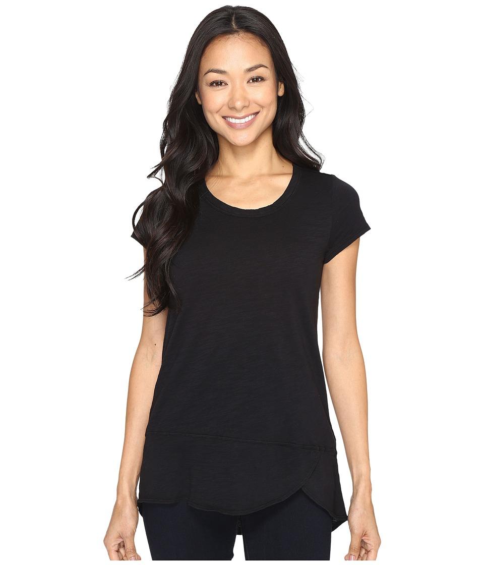 Mod-o-doc - Slub Jersey Short Sleeve Tulip Hem Tee (Black) Women's T Shirt