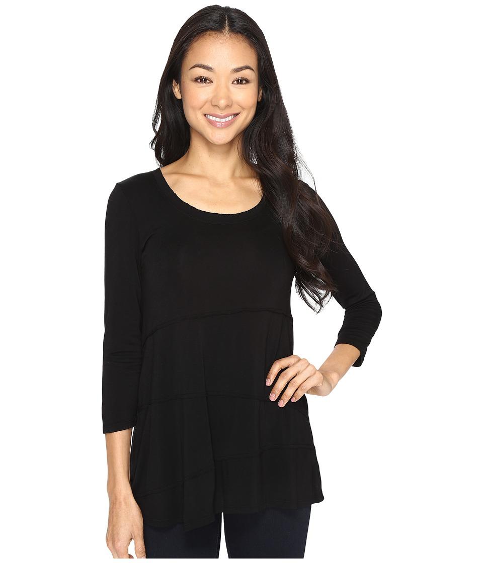 Mod-o-doc - Rayon Spandex Jersey Raw Edge Seamed Tee (Black) Women's T Shirt