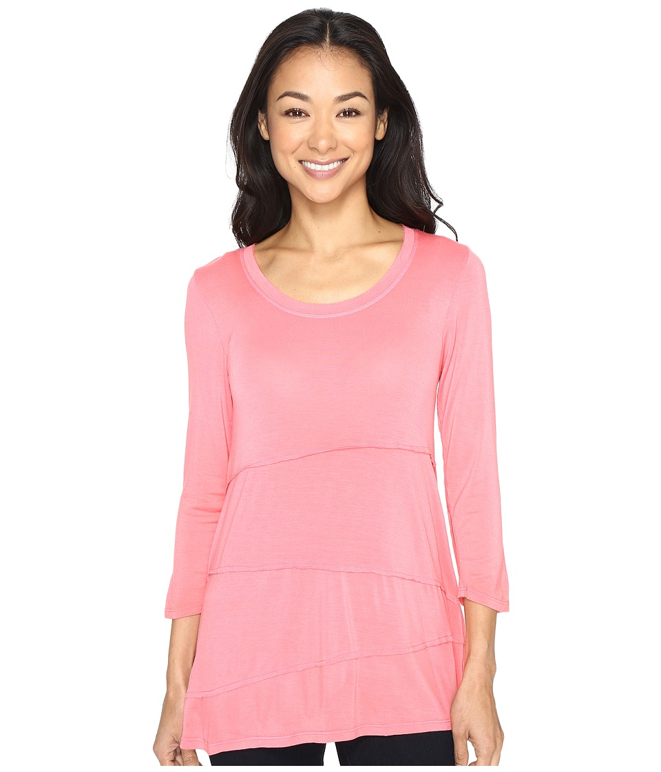 Mod-o-doc - Rayon Spandex Jersey Raw Edge Seamed Tee (Guava) Women's T Shirt