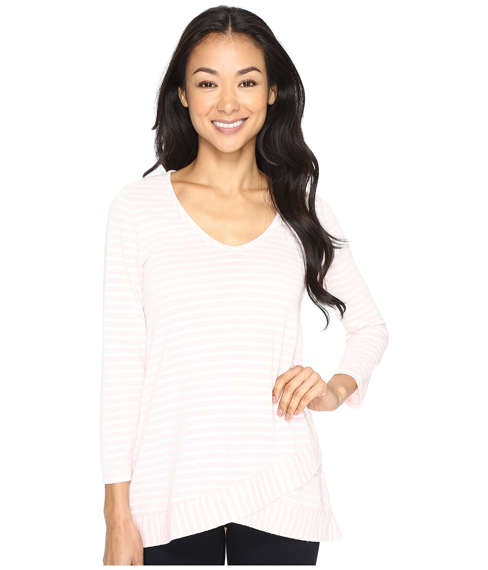 Mod-o-doc - Heather Yarn Dye Stripe 3/4 Sleeve Crossover Hem Tee (Pink) Women's T Shirt
