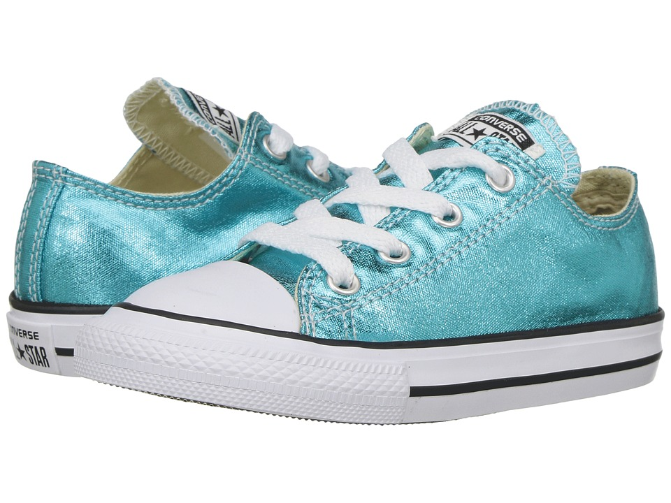 Converse Kids - Chuck Taylor All Star Ox Metallic (Infant/Toddler) (Fresh Cyan/Black/White) Girl's Shoes