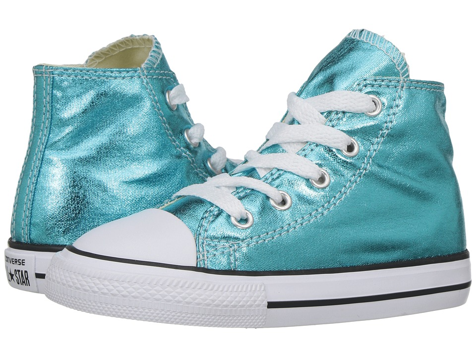 Converse Kids - Chuck Taylor All Star Hi Metallic (Infant/Toddler) (Fresh Cyan/Black/White) Girl's Shoes
