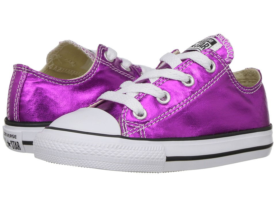 Converse Kids - Chuck Taylor All Star Ox Metallic (Infant/Toddler) (Magenta Glow/Black/White) Girl's Shoes