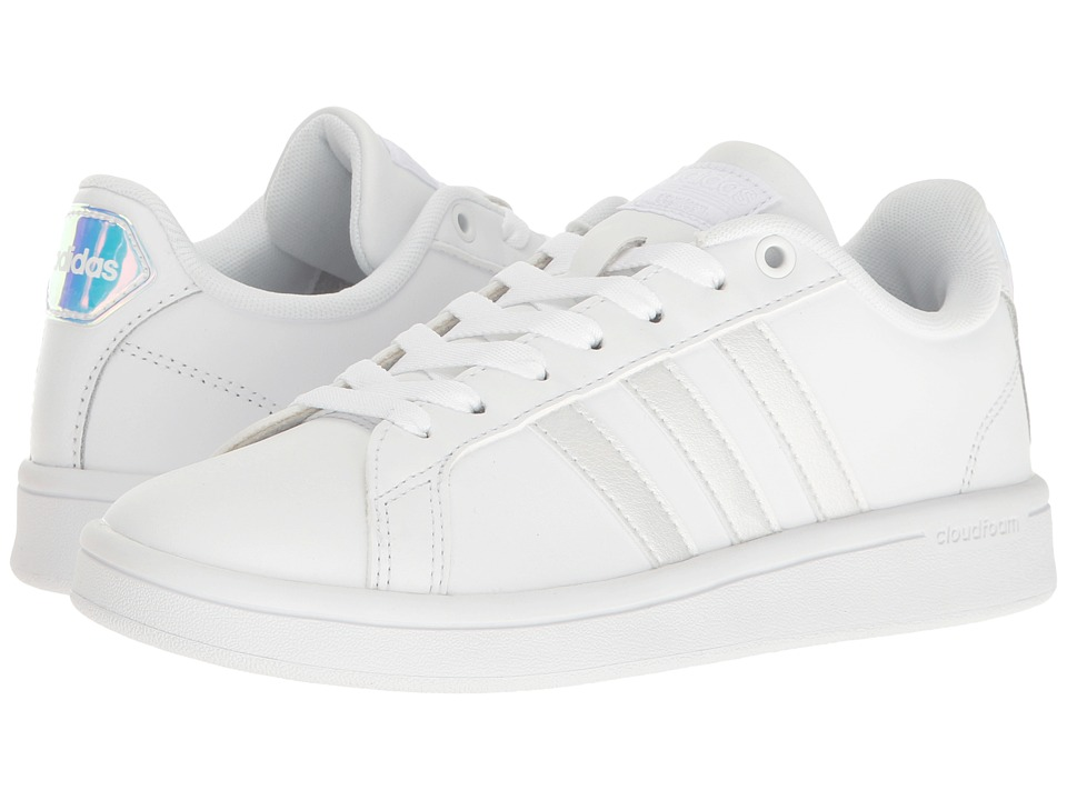 adidas - Cloudfoam Advantage Stripe (White/Irredecent/Black) Women's Court Shoes