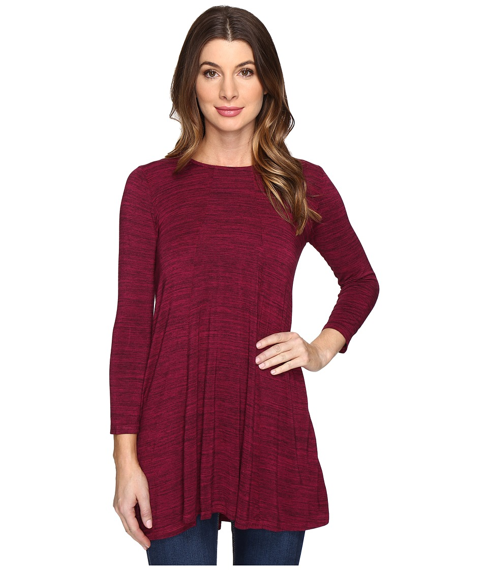 Mod-o-doc - Space Dye Rayon Spandex Jersey Keyhole Back Tunic (Cranberry Heath) Women's Clothing