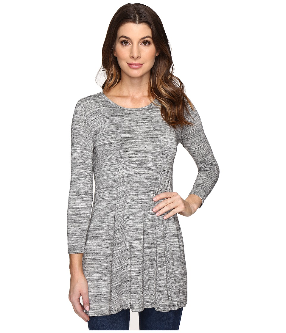 Mod-o-doc - Space Dye Rayon Spandex Jersey Keyhole Back Tunic (Charcoal Heathe) Women's Clothing
