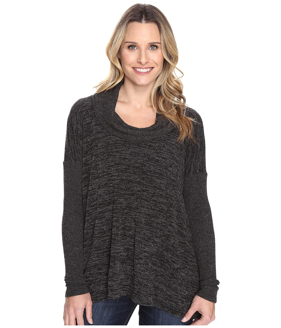 Mod-o-doc - Heather Sweater w/ Rib Long Sleeve Cowl Neck Pullover (Black Heather) Women's Clothing