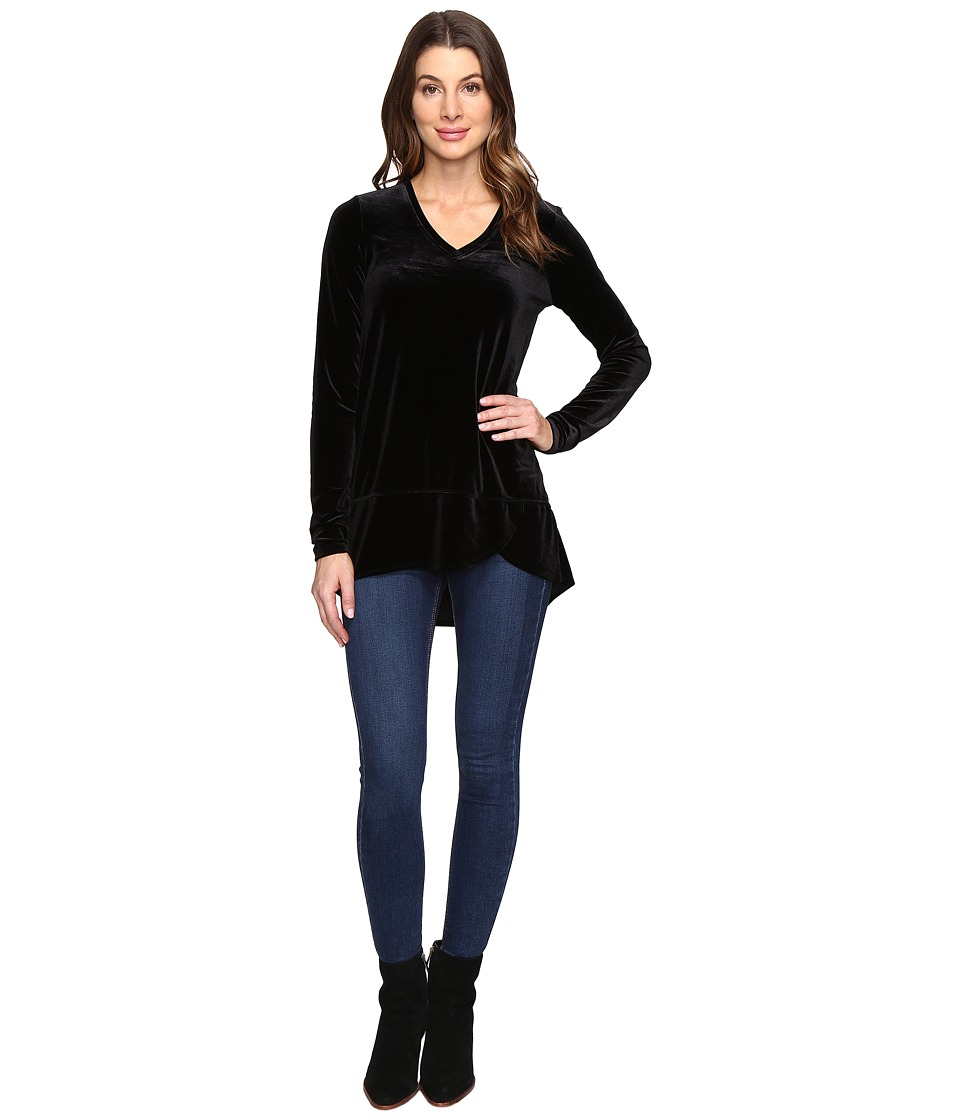 Mod-o-doc - Stretch Velvet Tulip Hem Tunic (Black) Women's Clothing