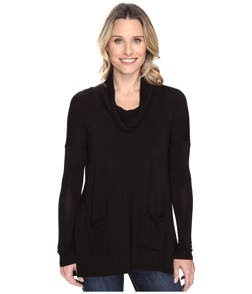 Mod-o-doc - Rayon Spandex Jersey Pullover Cowl Funnel Tunic (Black) Women's Clothing