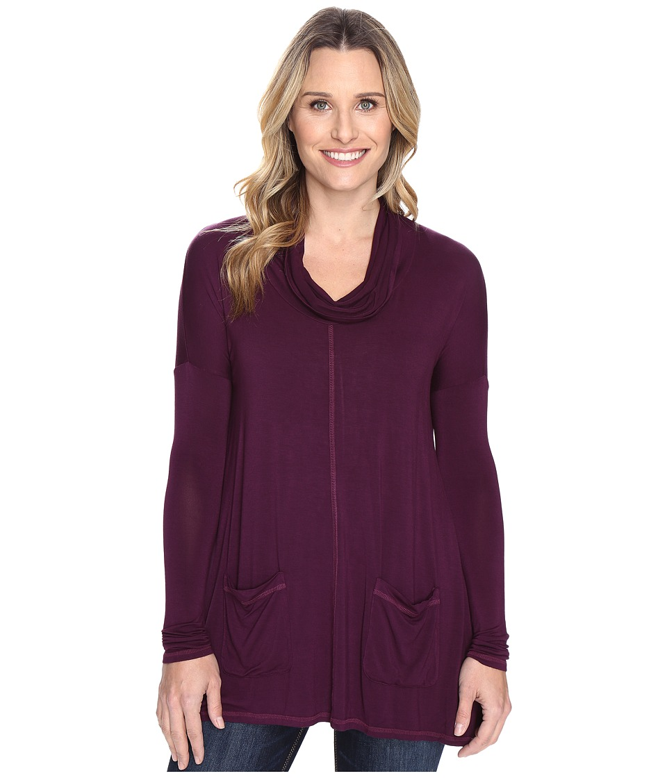 Mod-o-doc - Rayon Spandex Jersey Pullover Cowl Funnel Tunic (Spiced Plum) Women's Clothing