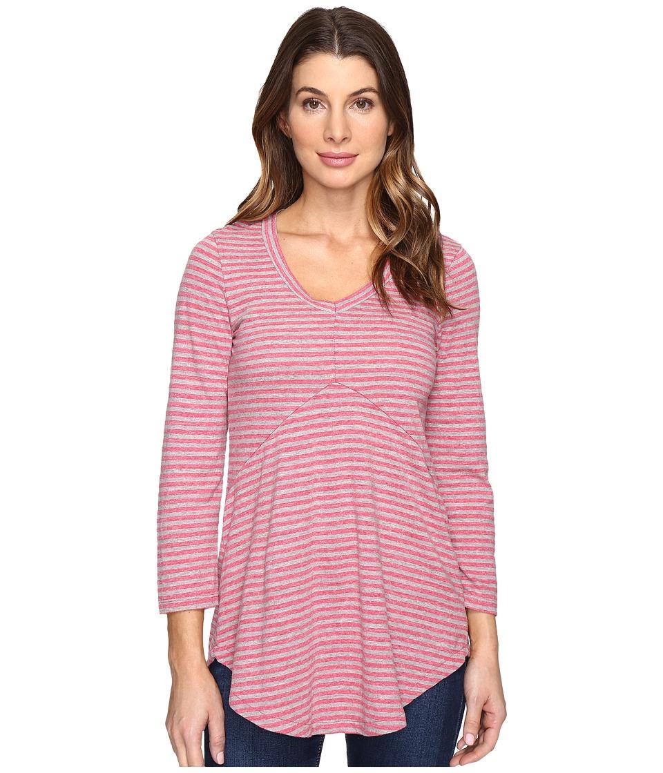 Mod-o-doc - Brushed Slub Stripe 3/4 Sleeve V-Neck Tunic (Cranberry) Women's Clothing