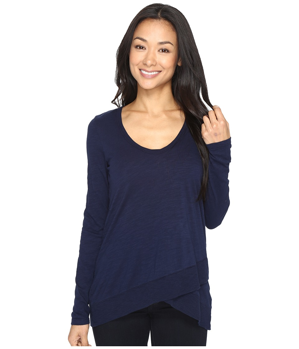 Mod-o-doc - Slub Jersey Crossover Hem Tunic (True Navy) Women's Clothing
