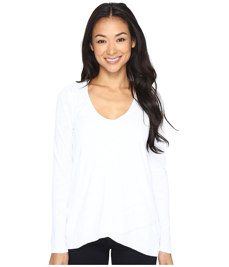 Mod-o-doc - Slub Jersey Crossover Hem Tunic (White) Women's Clothing