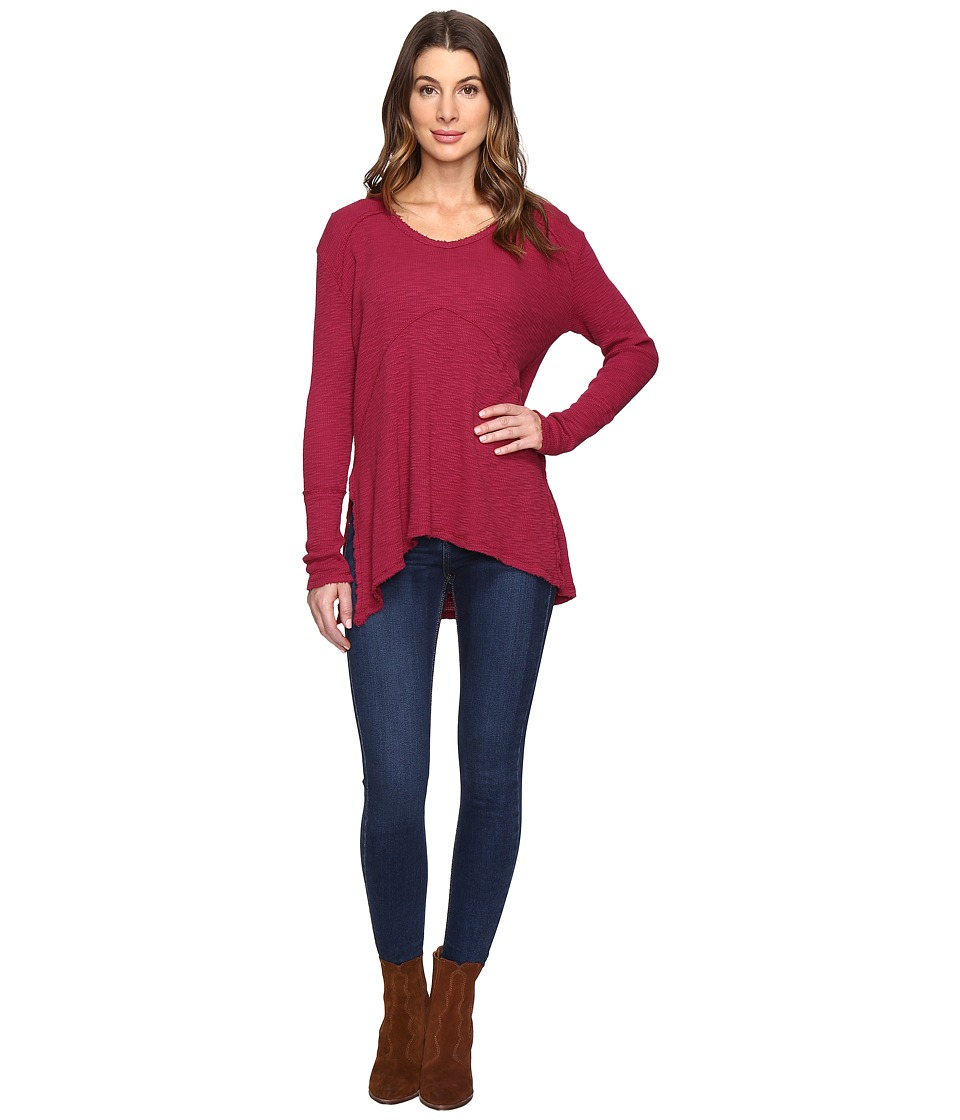 Mod-o-doc - Vintage Slub Thermal Seamed V-Neck Pullover (Cranberry) Women's Long Sleeve Pullover