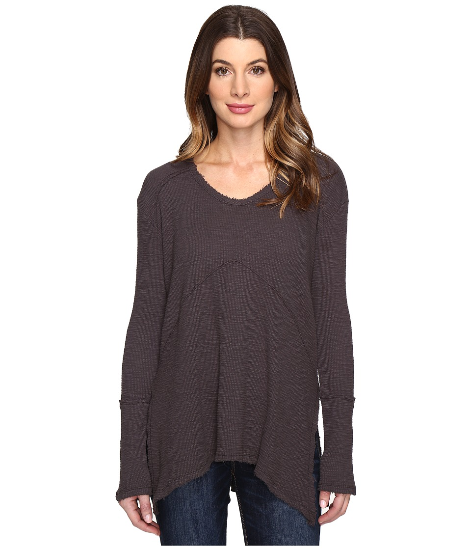 Mod-o-doc - Vintage Slub Thermal Seamed V-Neck Pullover (Dark Nickel) Women's Long Sleeve Pullover