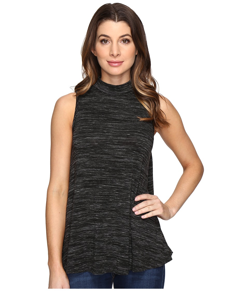 Mod-o-doc - Space Dye Rayon Spandex Jersey Mock Neck Sleeveless Top (Black Heather) Women's Sleeveless