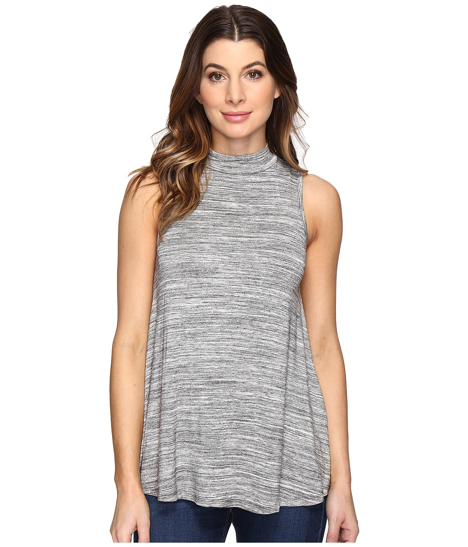 Mod-o-doc - Space Dye Rayon Spandex Jersey Mock Neck Sleeveless Top (Charcoal Heather) Women's Sleeveless