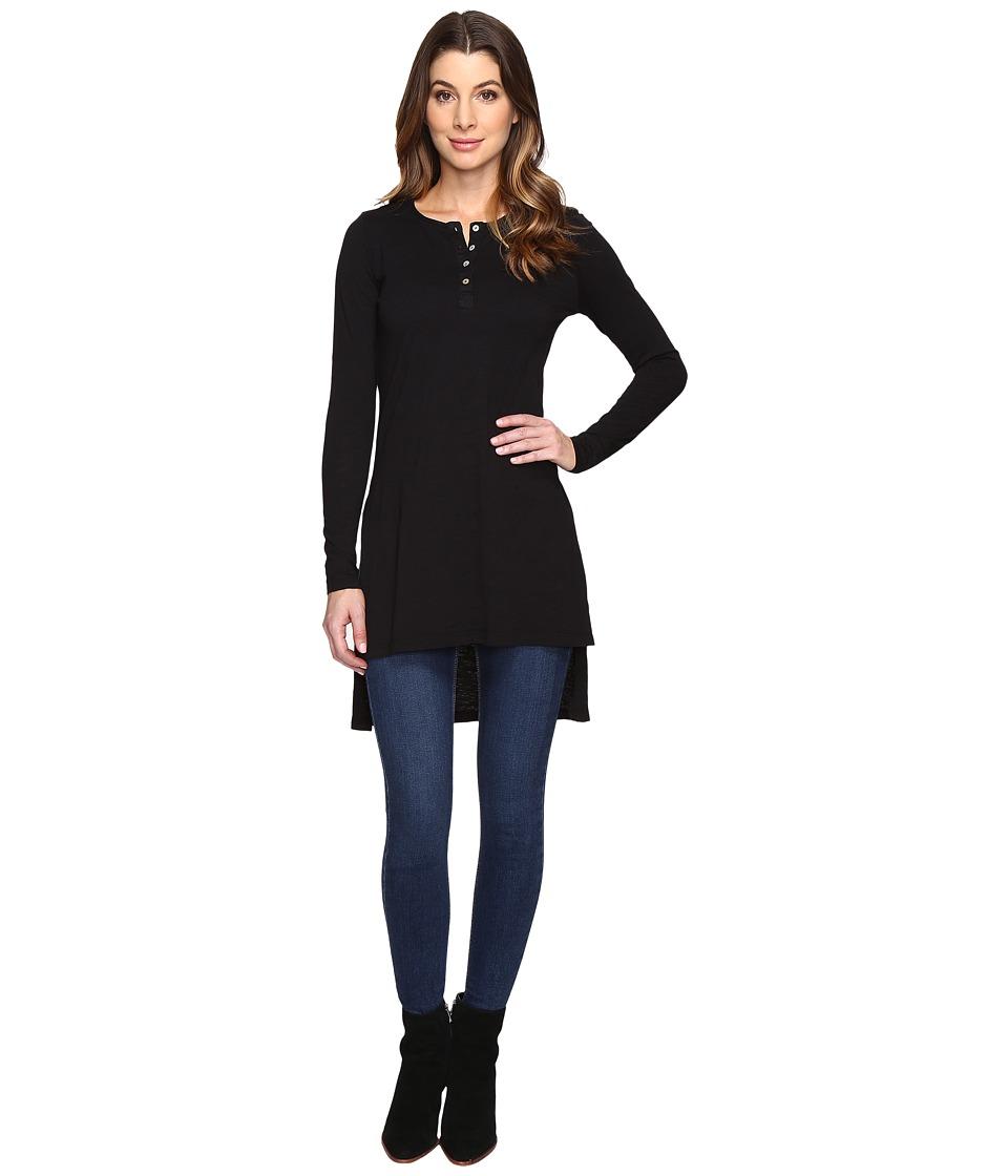 Mod-o-doc - Slub Jersey Long Sleeve Henley Tunic (Black) Women's Clothing