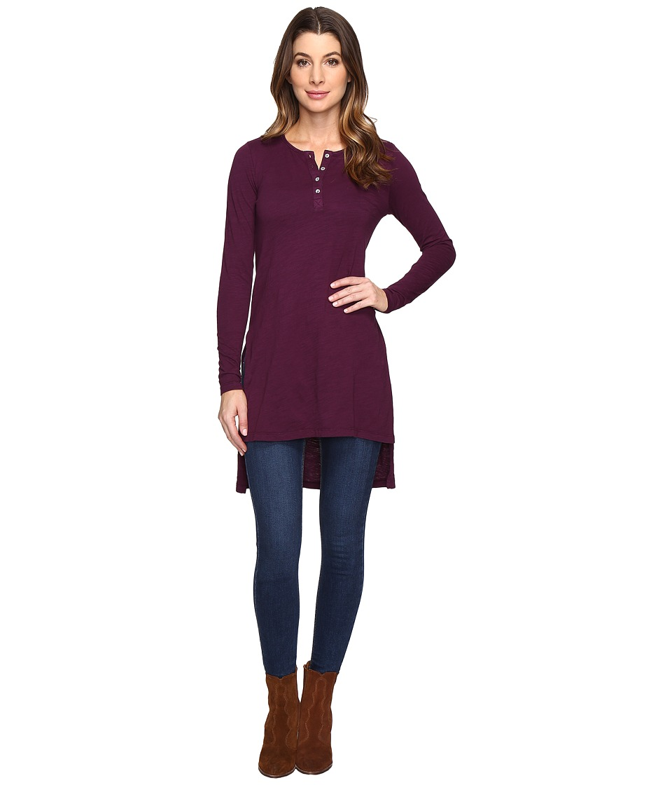 Mod-o-doc - Slub Jersey Long Sleeve Henley Tunic (Spiced Plum) Women's Clothing