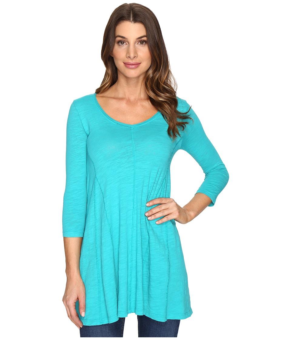 Mod-o-doc - Slub Jersey Gored Inset V-Neck Tunic (Seaside) Women's Clothing