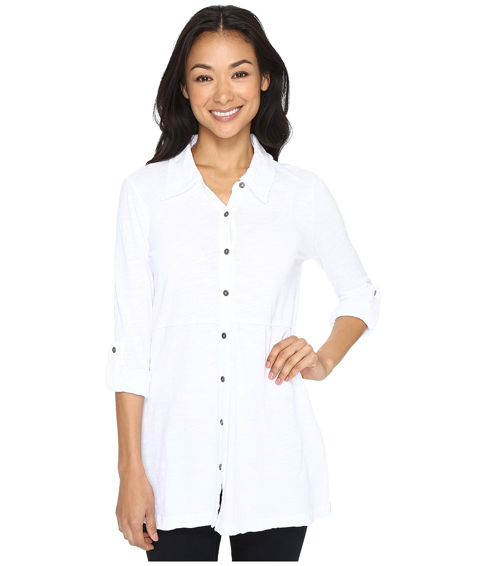 Mod-o-doc - Slub Jersey Button Up Long Sleeve Shirt (White) Women's Clothing
