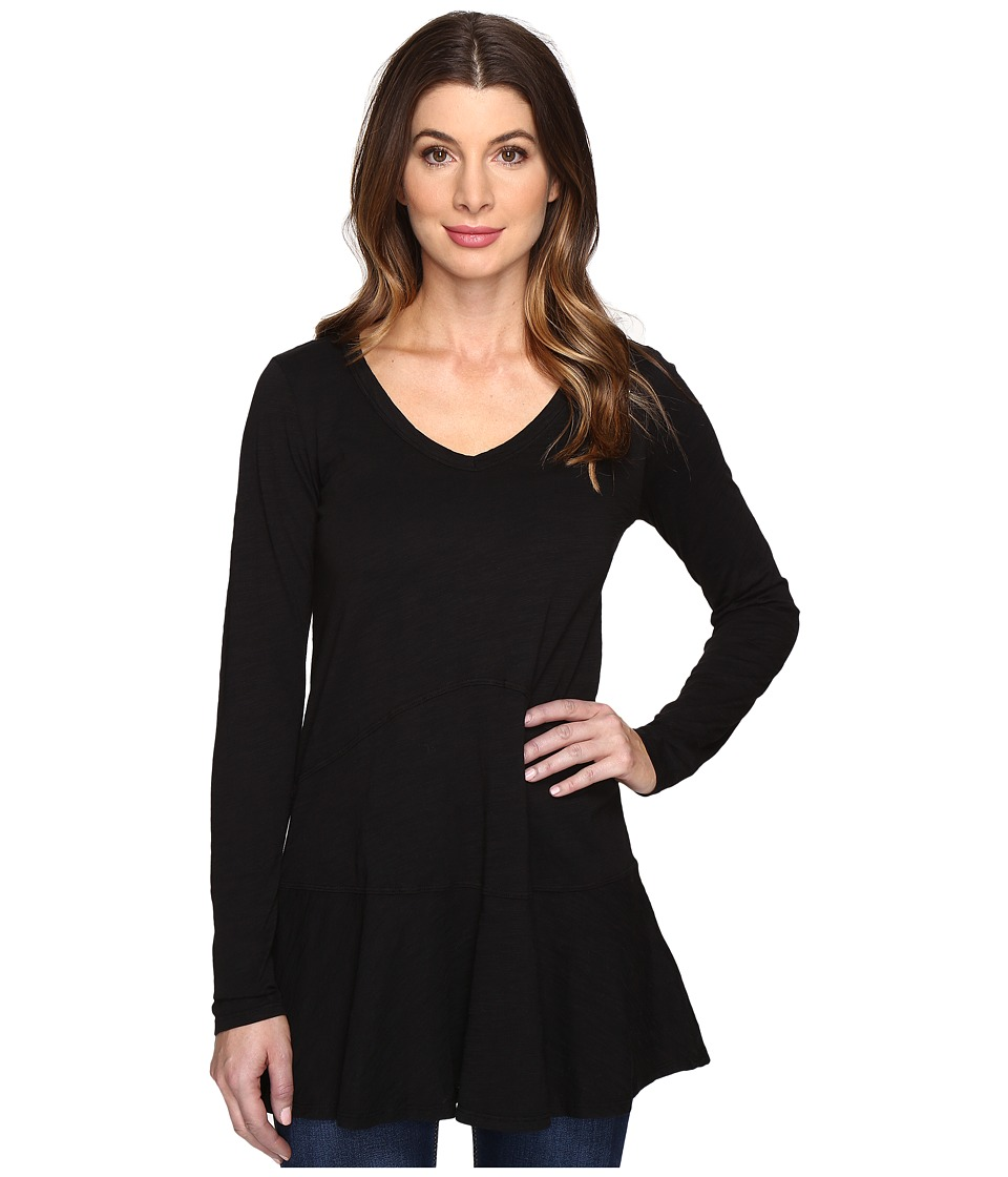 Mod-o-doc - Slub Jersey V-Neck Tunic w/ Flounce Hem (Black) Women's Clothing